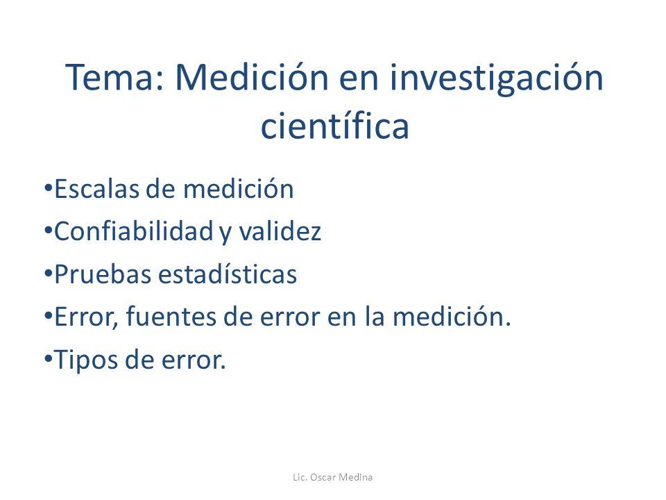 Tema: Medición en investigación científica Escalas de medición Confiabilidad y validez Pruebas estadísticas Error, fuentes de error en la medición.