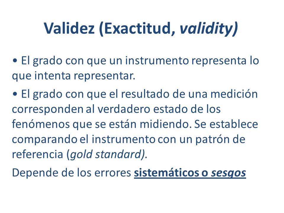 Validez (Exactitud, validity) El grado con que un instrumento representa lo que intenta representar. El grado con que el resultado de una medición cor
