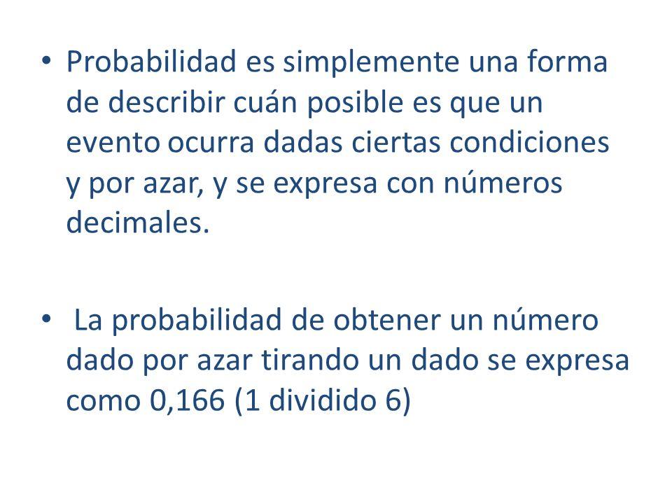 Probabilidad es simplemente una forma de describir cuán posible es que un evento ocurra dadas ciertas condiciones y por azar, y se expresa con números decimales.