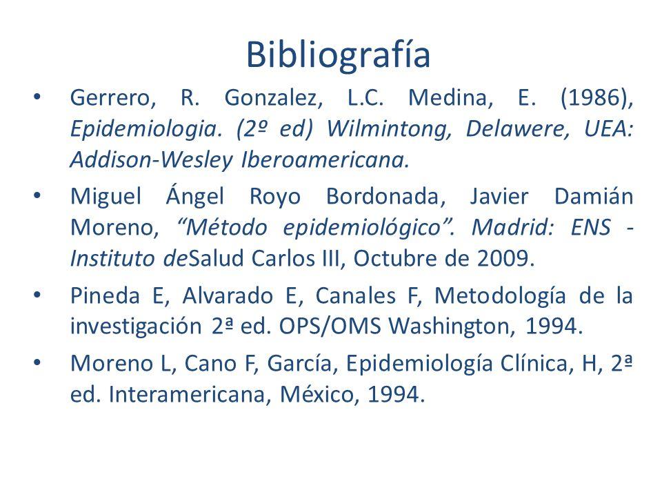 Bibliografía Gerrero, R. Gonzalez, L.C. Medina, E. (1986), Epidemiologia. (2º ed) Wilmintong, Delawere, UEA: Addison-Wesley Iberoamericana. Miguel Áng