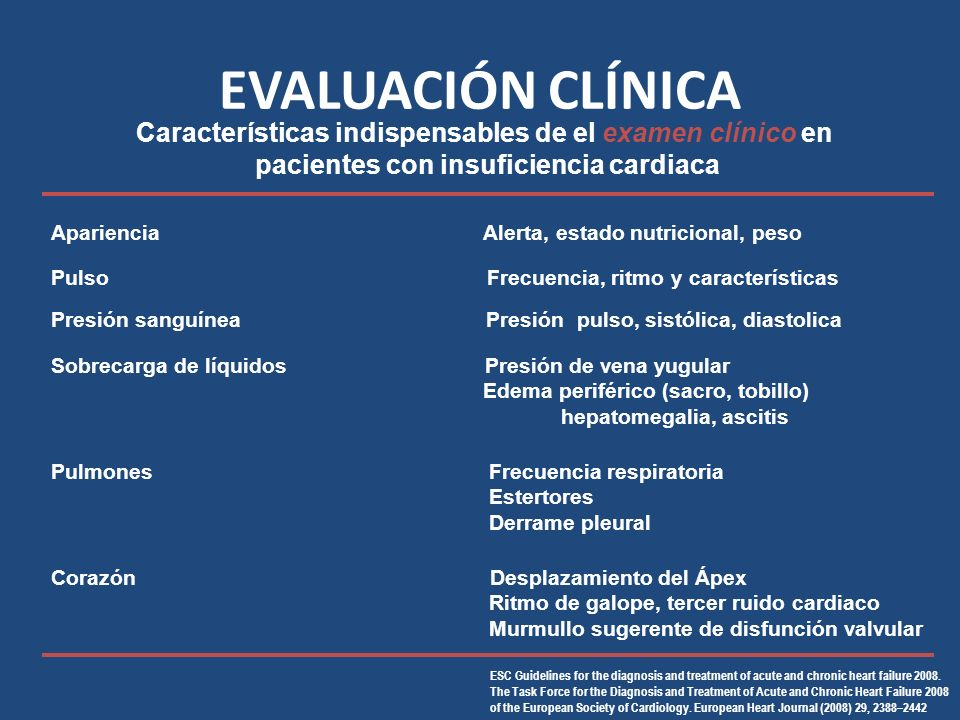EVALUACIÓN CLÍNICA ESC Guidelines for the diagnosis and treatment of acute and chronic heart failure 2008.