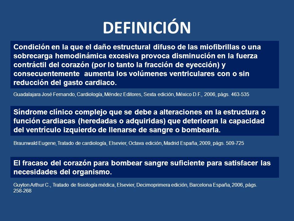 DEFINICIÓN Condición en la que el daño estructural difuso de las miofibrillas o una sobrecarga hemodinámica excesiva provoca disminución en la fuerza