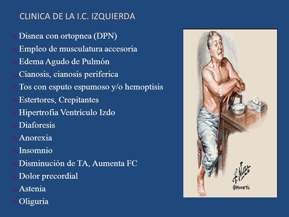 CLINICA DE LA I.C. IZQUIERDA Disnea con ortopnea (DPN) Empleo de musculatura accesoria Edema Agudo de Pulmón Cianosis, cianosis periferica Tos con esp