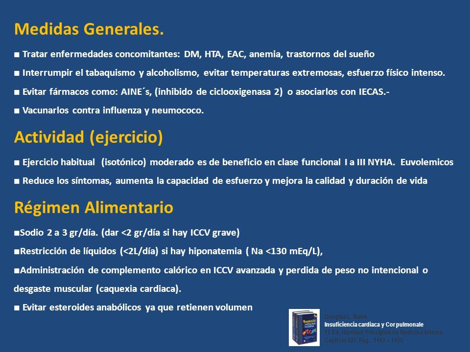 Medidas Generales. Tratar enfermedades concomitantes: DM, HTA, EAC, anemia, trastornos del sueño Interrumpir el tabaquismo y alcoholismo, evitar tempe