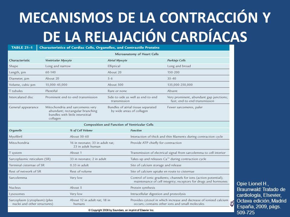 MECANISMOS DE LA CONTRACCIÓN Y DE LA RELAJACIÓN CARDÍACAS Opie Lionel H., Braunwald: Tratado de cardiología, Elsevier, Octava edición, Madrid España,