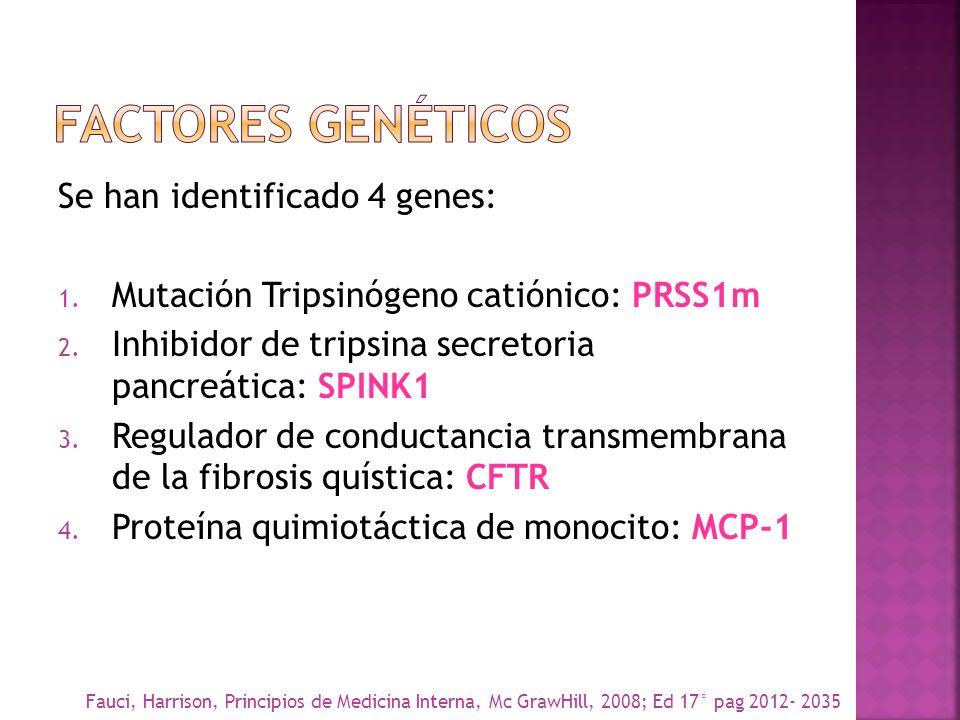 Se han identificado 4 genes: 1. Mutación Tripsinógeno catiónico: PRSS1m 2. Inhibidor de tripsina secretoria pancreática: SPINK1 3. Regulador de conduc