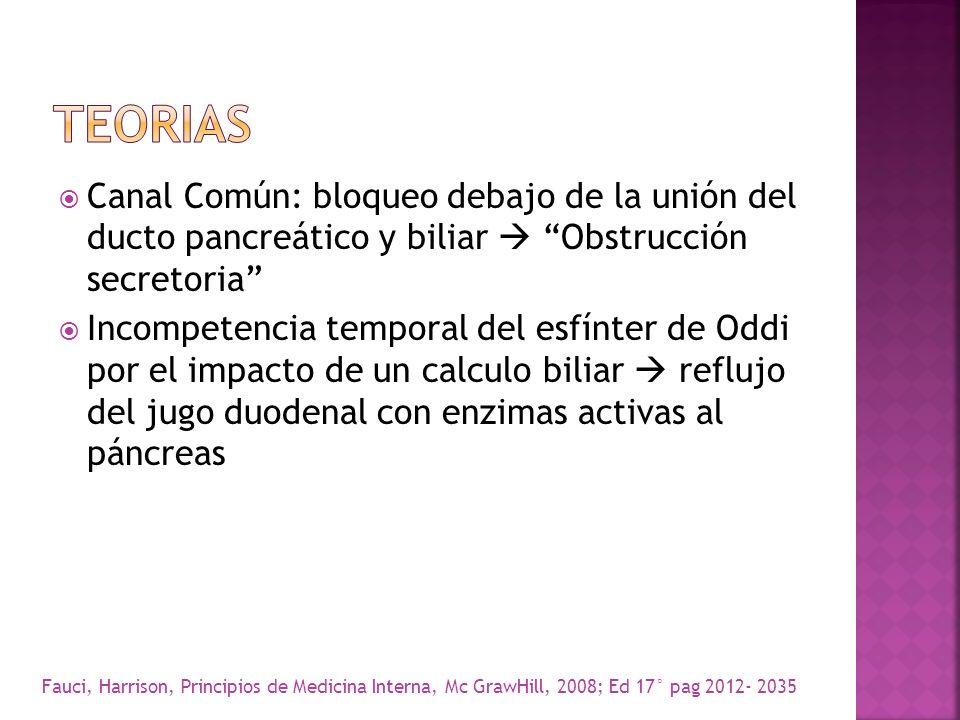 Canal Común: bloqueo debajo de la unión del ducto pancreático y biliar Obstrucción secretoria Incompetencia temporal del esfínter de Oddi por el impac