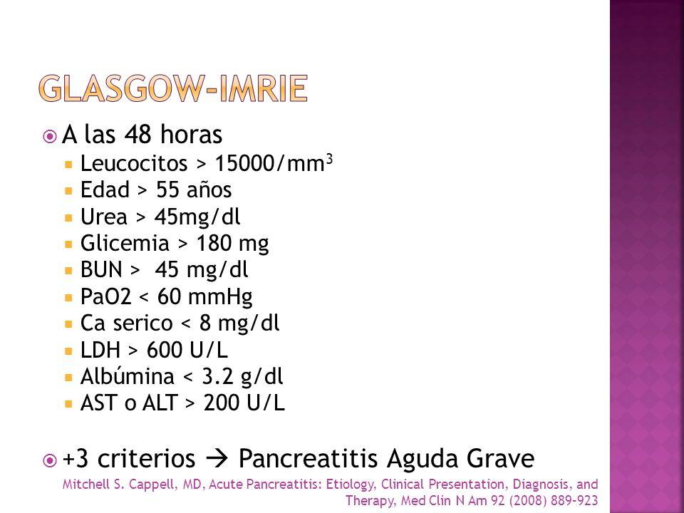A las 48 horas Leucocitos > 15000/mm 3 Edad > 55 años Urea > 45mg/dl Glicemia > 180 mg BUN > 45 mg/dl PaO2 < 60 mmHg Ca serico < 8 mg/dl LDH > 600 U/L