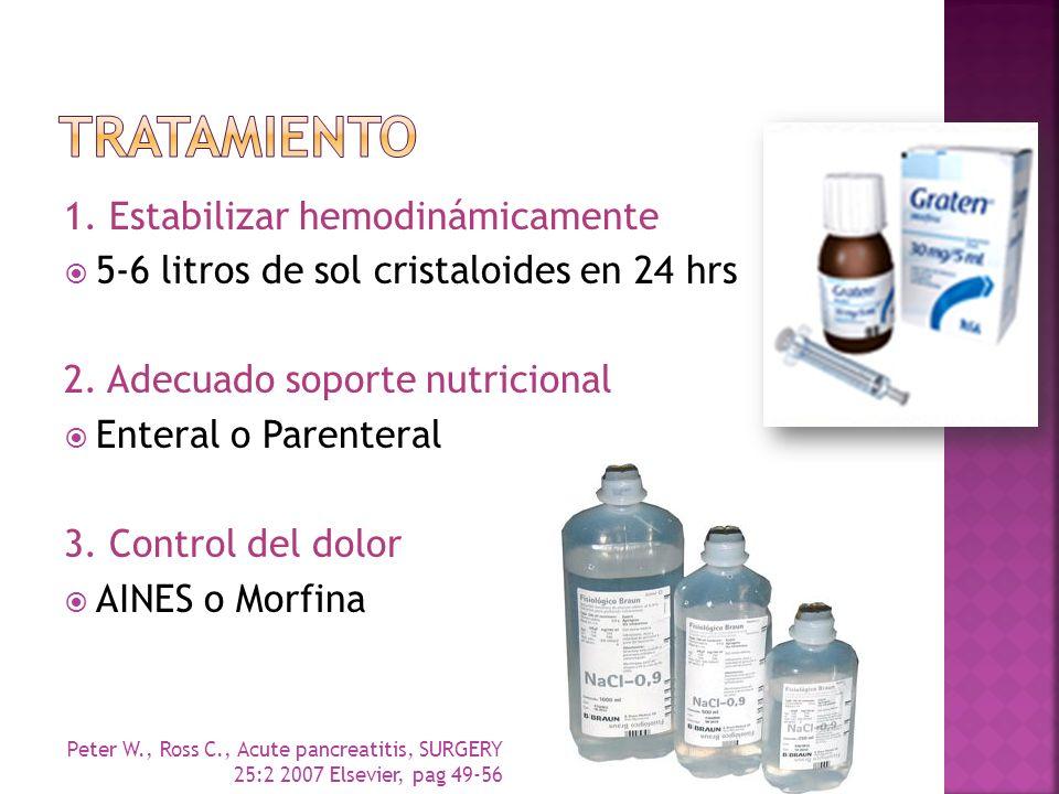 1. Estabilizar hemodinámicamente 5-6 litros de sol cristaloides en 24 hrs 2. Adecuado soporte nutricional Enteral o Parenteral 3. Control del dolor AI