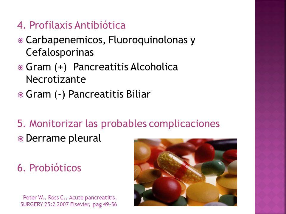 4. Profilaxis Antibiótica Carbapenemicos, Fluoroquinolonas y Cefalosporinas Gram (+) Pancreatitis Alcoholica Necrotizante Gram (-) Pancreatitis Biliar