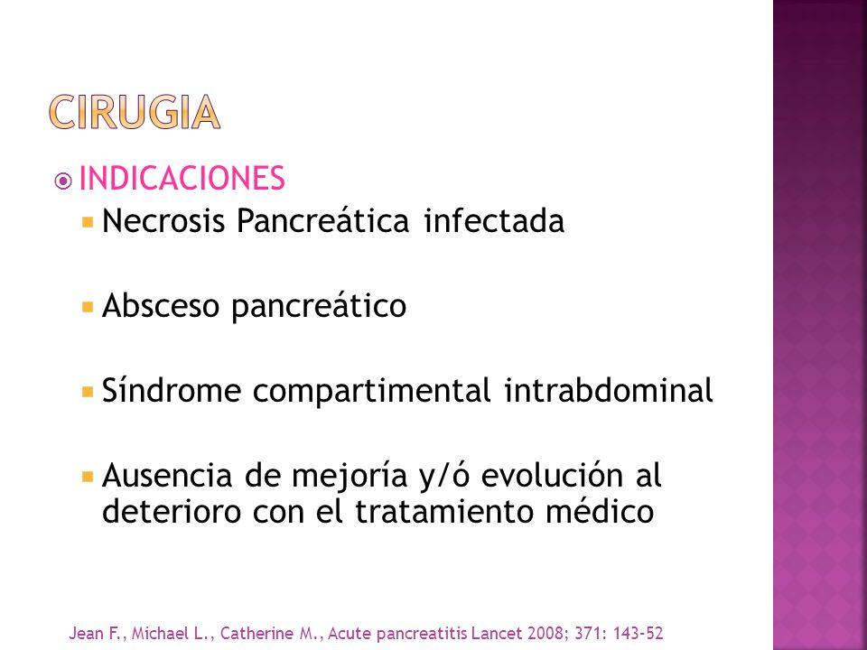 INDICACIONES Necrosis Pancreática infectada Absceso pancreático Síndrome compartimental intrabdominal Ausencia de mejoría y/ó evolución al deterioro c