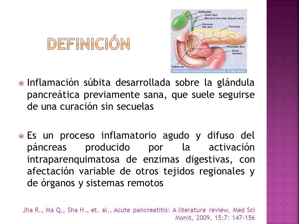Inflamación súbita desarrollada sobre la glándula pancreática previamente sana, que suele seguirse de una curación sin secuelas Es un proceso inflamat