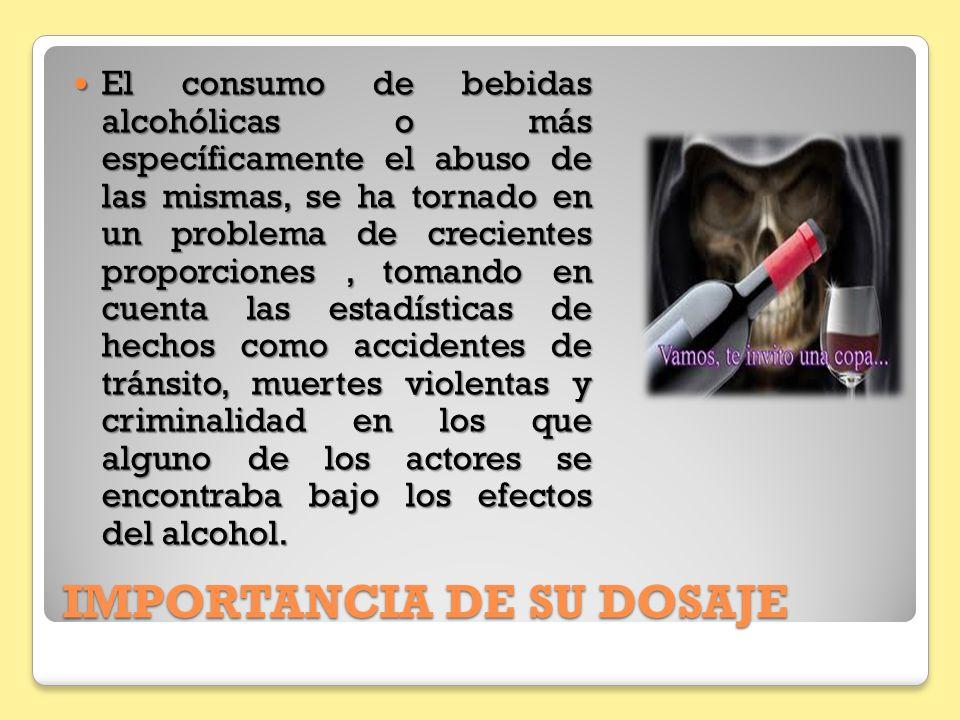 IMPORTANCIA DE SU DOSAJE El consumo de bebidas alcohólicas o más específicamente el abuso de las mismas, se ha tornado en un problema de crecientes pr