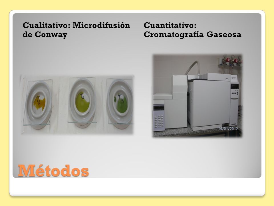 Métodos Cualitativo: Microdifusión de Conway Cuantitativo: Cromatografía Gaseosa