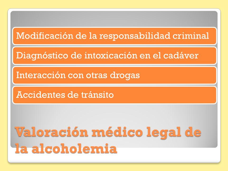 Valoración médico legal de la alcoholemia Modificación de la responsabilidad criminalDiagnóstico de intoxicación en el cadáverInteracción con otras dr