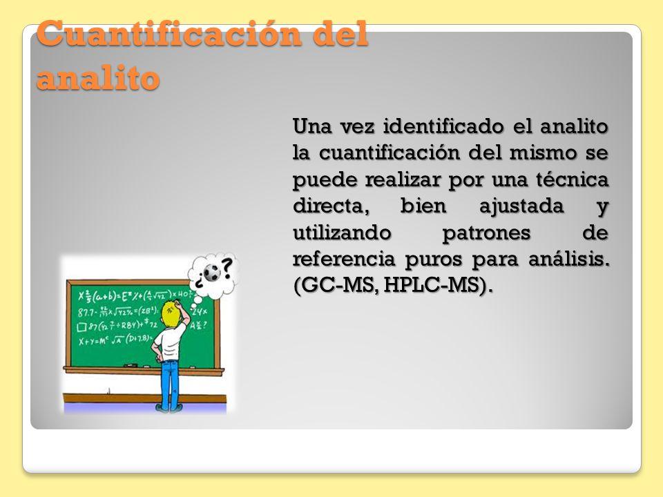 Cuantificación del analito Una vez identificado el analito la cuantificación del mismo se puede realizar por una técnica directa, bien ajustada y util