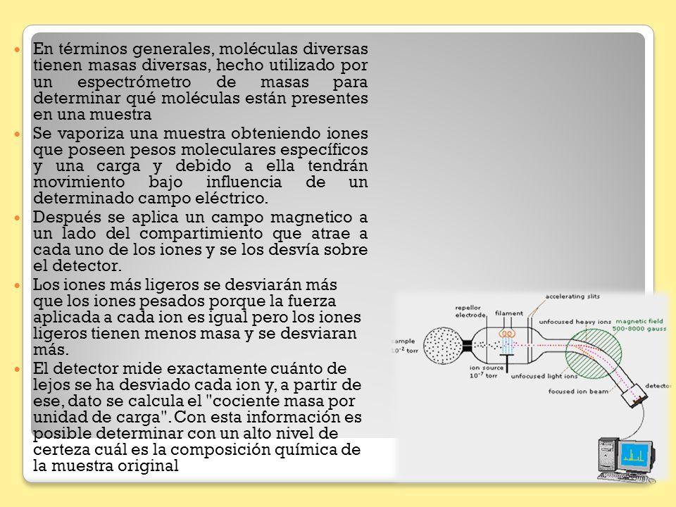 En términos generales, moléculas diversas tienen masas diversas, hecho utilizado por un espectrómetro de masas para determinar qué moléculas están pre