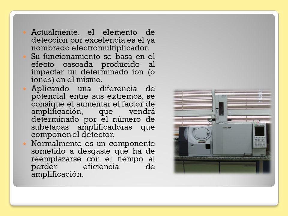 Actualmente, el elemento de detección por excelencia es el ya nombrado electromultiplicador. Su funcionamiento se basa en el efecto cascada producido