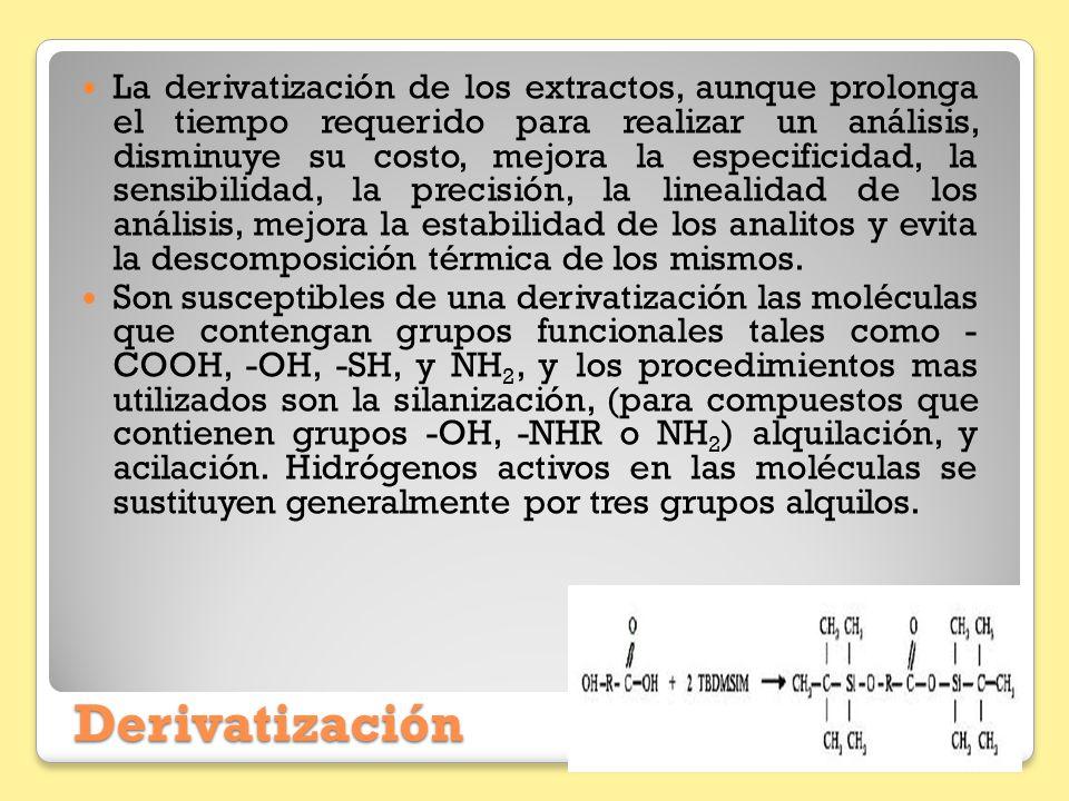 Derivatización La derivatización de los extractos, aunque prolonga el tiempo requerido para realizar un análisis, disminuye su costo, mejora la especi