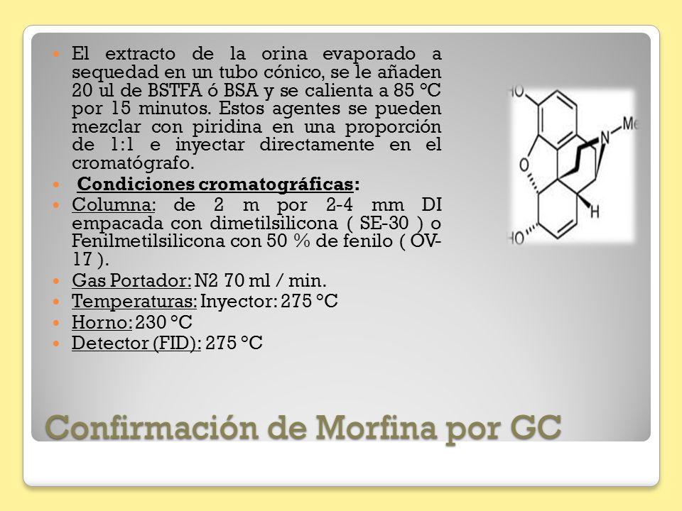 Confirmación de Morfina por GC El extracto de la orina evaporado a sequedad en un tubo cónico, se le añaden 20 ul de BSTFA ó BSA y se calienta a 85 °C