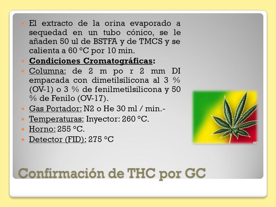 Confirmación de THC por GC El extracto de la orina evaporado a sequedad en un tubo cónico, se le añaden 50 ul de BSTFA y de TMCS y se calienta a 60 °C