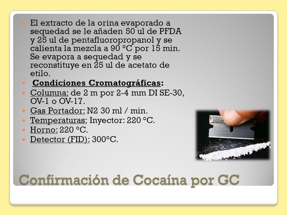 Confirmación de Cocaína por GC El extracto de la orina evaporado a sequedad se le añaden 50 ul de PFDA y 25 ul de pentafluoropropanol y se calienta la