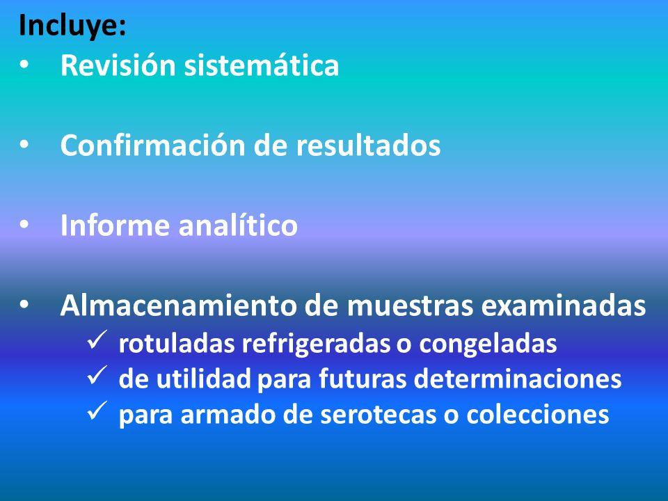 Incluye: Revisión sistemática Confirmación de resultados Informe analítico Almacenamiento de muestras examinadas rotuladas refrigeradas o congeladas d
