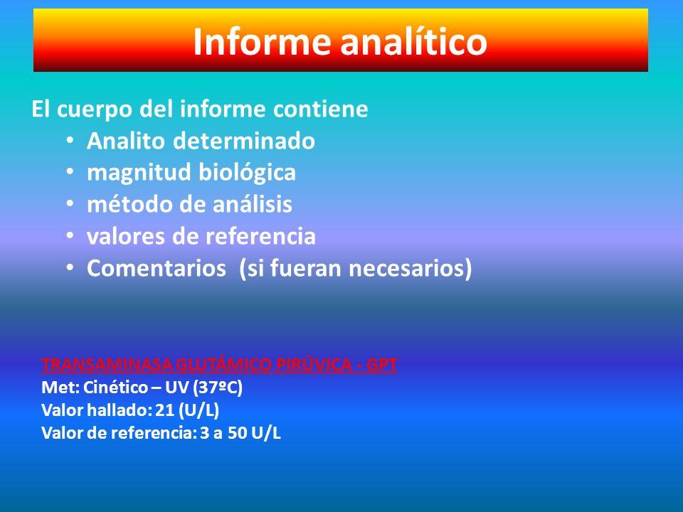 Informe analítico El cuerpo del informe contiene Analito determinado magnitud biológica método de análisis valores de referencia Comentarios (si fuera