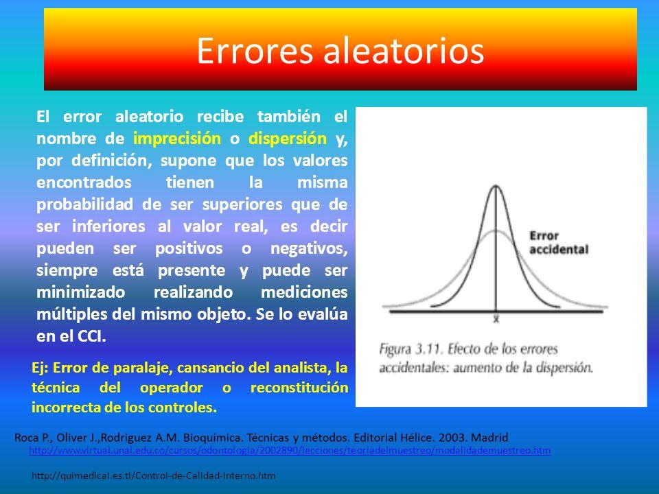 Errores aleatorios El error aleatorio recibe también el nombre de imprecisión o dispersión y, por definición, supone que los valores encontrados tiene