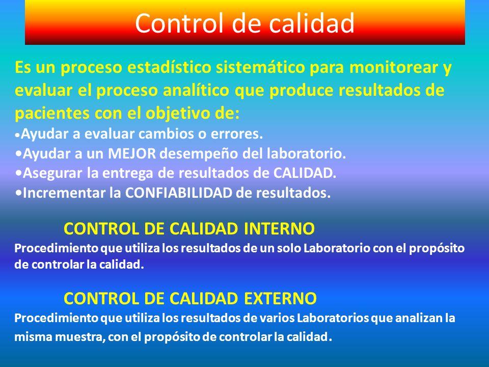 Es un proceso estadístico sistemático para monitorear y evaluar el proceso analítico que produce resultados de pacientes con el objetivo de: Ayudar a