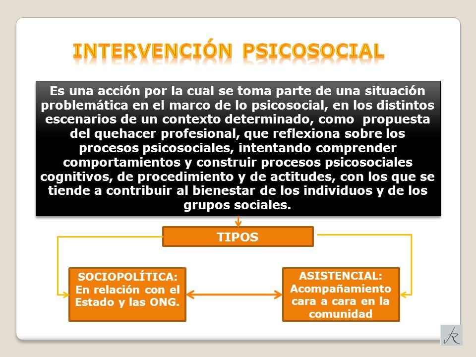 Es una acción por la cual se toma parte de una situación problemática en el marco de lo psicosocial, en los distintos escenarios de un contexto determ
