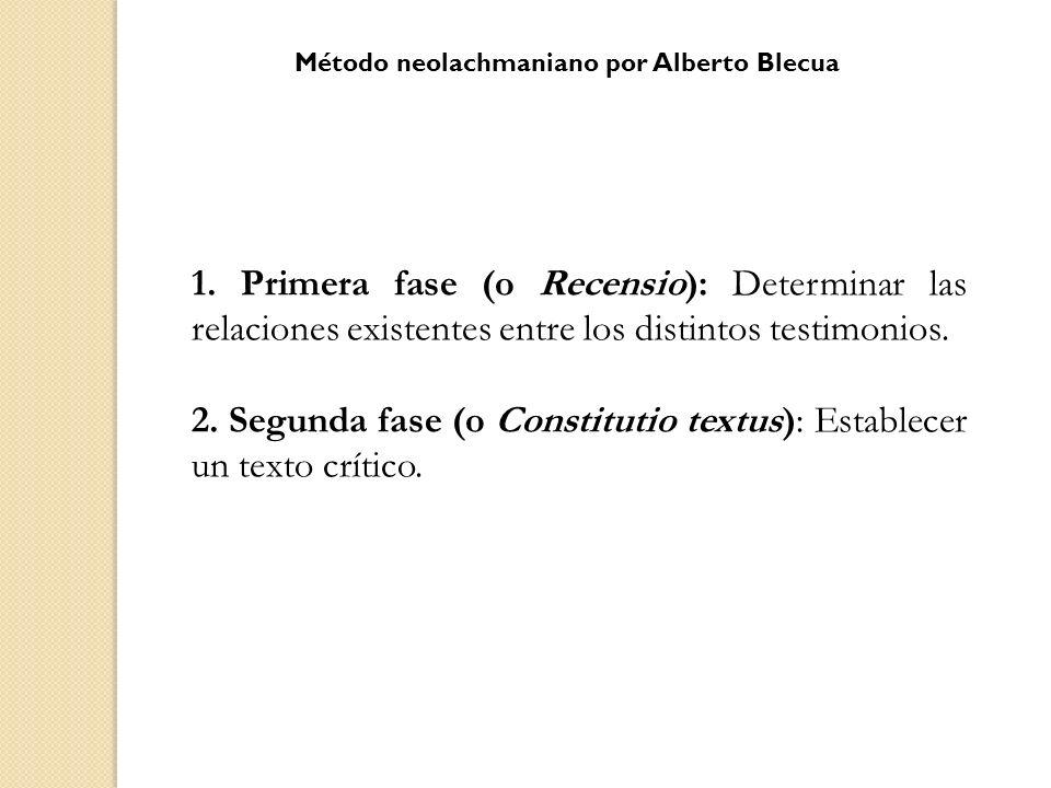 1. Primera fase (o Recensio): Determinar las relaciones existentes entre los distintos testimonios. 2. Segunda fase (o Constitutio textus): Establecer