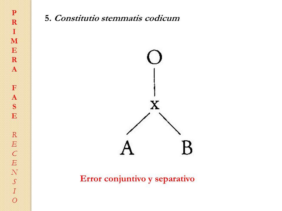 PRIMERAFASERECENSIOPRIMERAFASERECENSIO 5. Constitutio stemmatis codicum Error conjuntivo y separativo