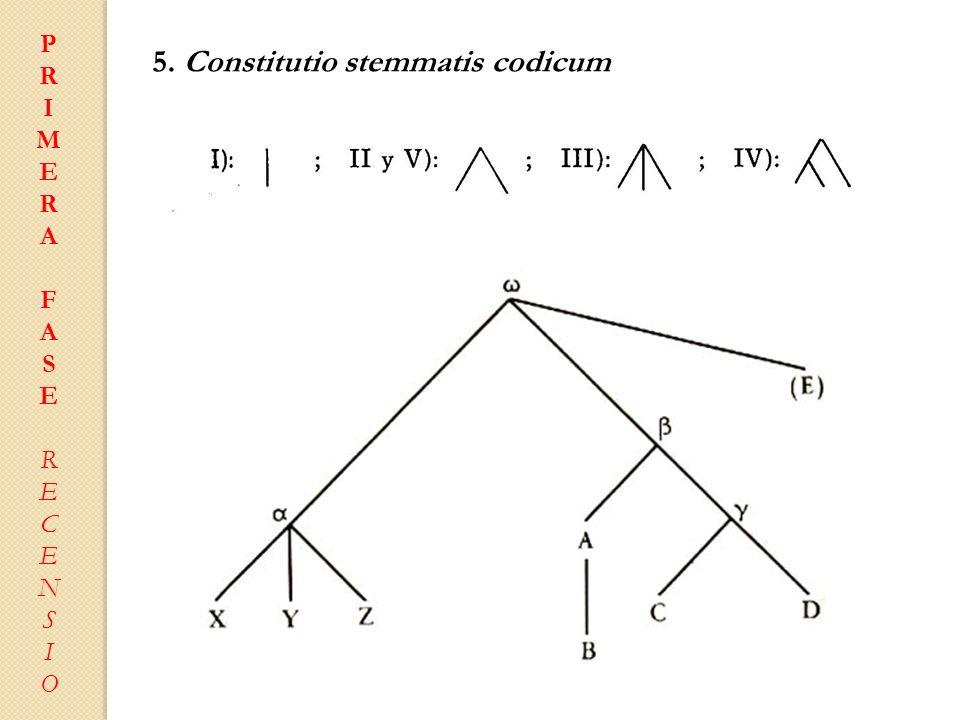 PRIMERAFASERECENSIOPRIMERAFASERECENSIO 5. Constitutio stemmatis codicum