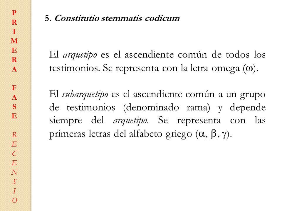 PRIMERAFASERECENSIOPRIMERAFASERECENSIO 5. Constitutio stemmatis codicum El arquetipo es el ascendiente común de todos los testimonios. Se representa c