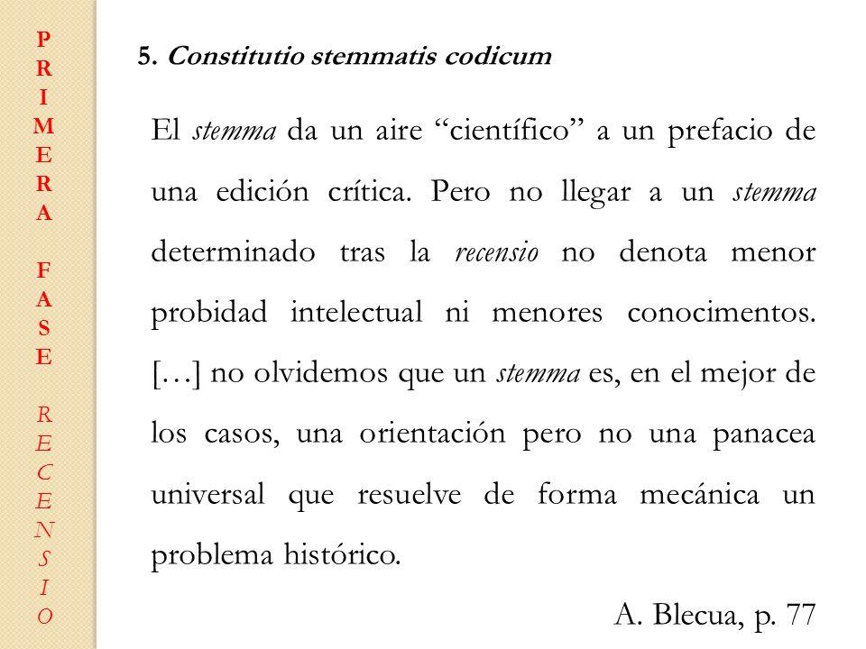 PRIMERAFASERECENSIOPRIMERAFASERECENSIO 5. Constitutio stemmatis codicum El stemma da un aire científico a un prefacio de una edición crítica. Pero no