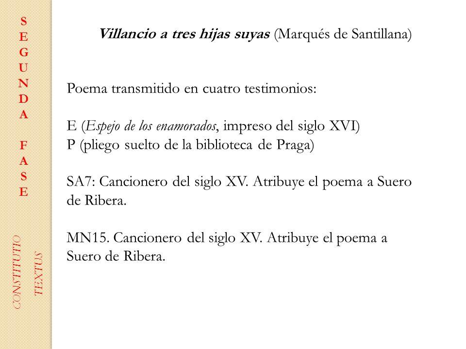 SEGUNDAFASESEGUNDAFASE CONSTITUTIO TEXTUS Villancio a tres hijas suyas (Marqués de Santillana) Poema transmitido en cuatro testimonios: E (Espejo de l