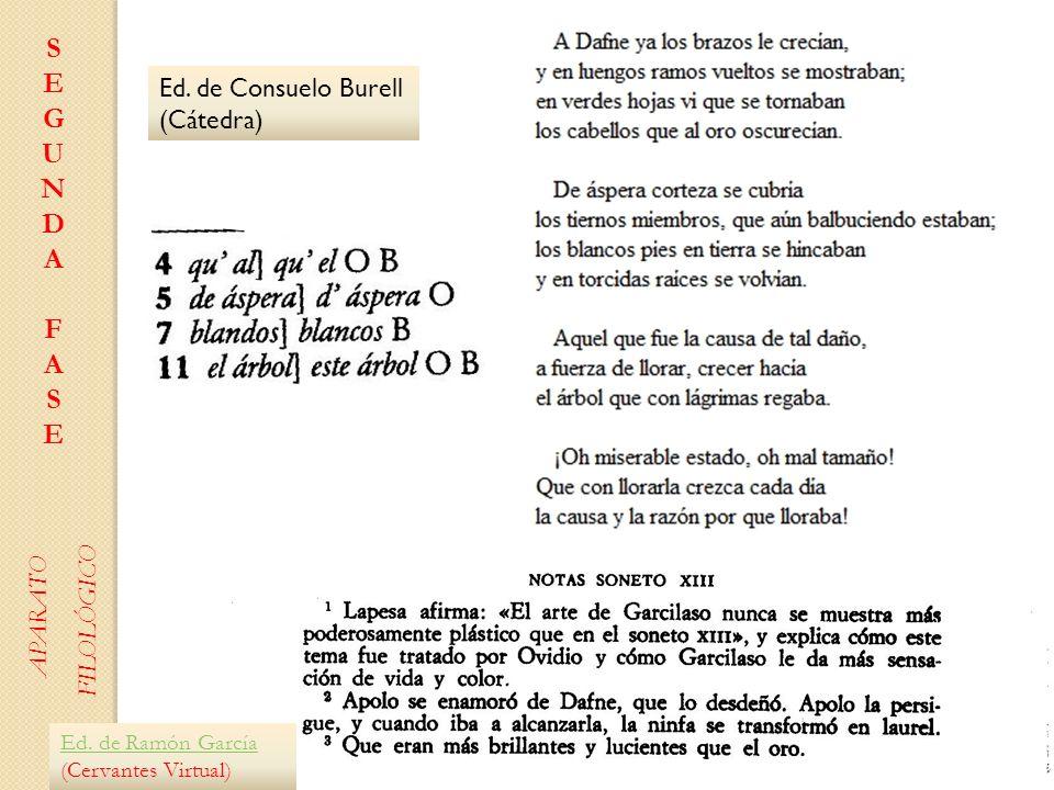 Ed. de Consuelo Burell (Cátedra) Ed. de Ramón García Ed. de Ramón García (Cervantes Virtual) SEGUNDAFASESEGUNDAFASE APARATO FILOLÓGICO