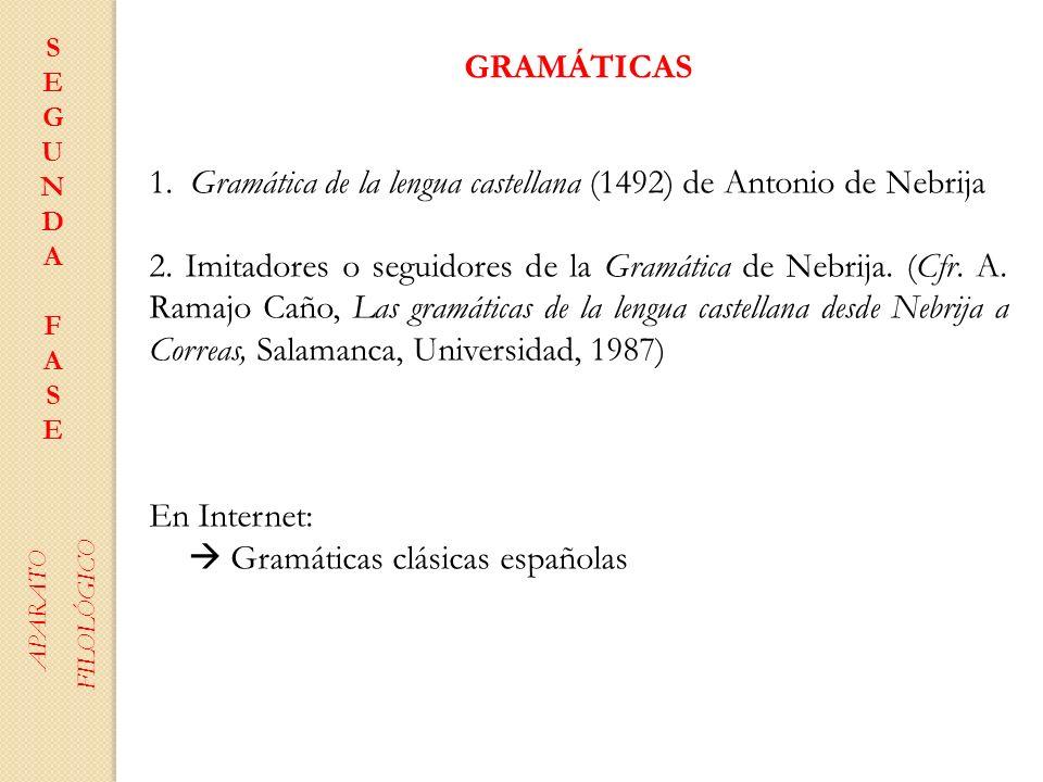 GRAMÁTICAS 1. Gramática de la lengua castellana (1492) de Antonio de Nebrija 2. Imitadores o seguidores de la Gramática de Nebrija. (Cfr. A. Ramajo Ca