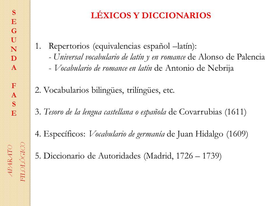 LÉXICOS Y DICCIONARIOS 1.Repertorios (equivalencias español –latín): - Universal vocabulario de latín y en romance de Alonso de Palencia - Vocabulario