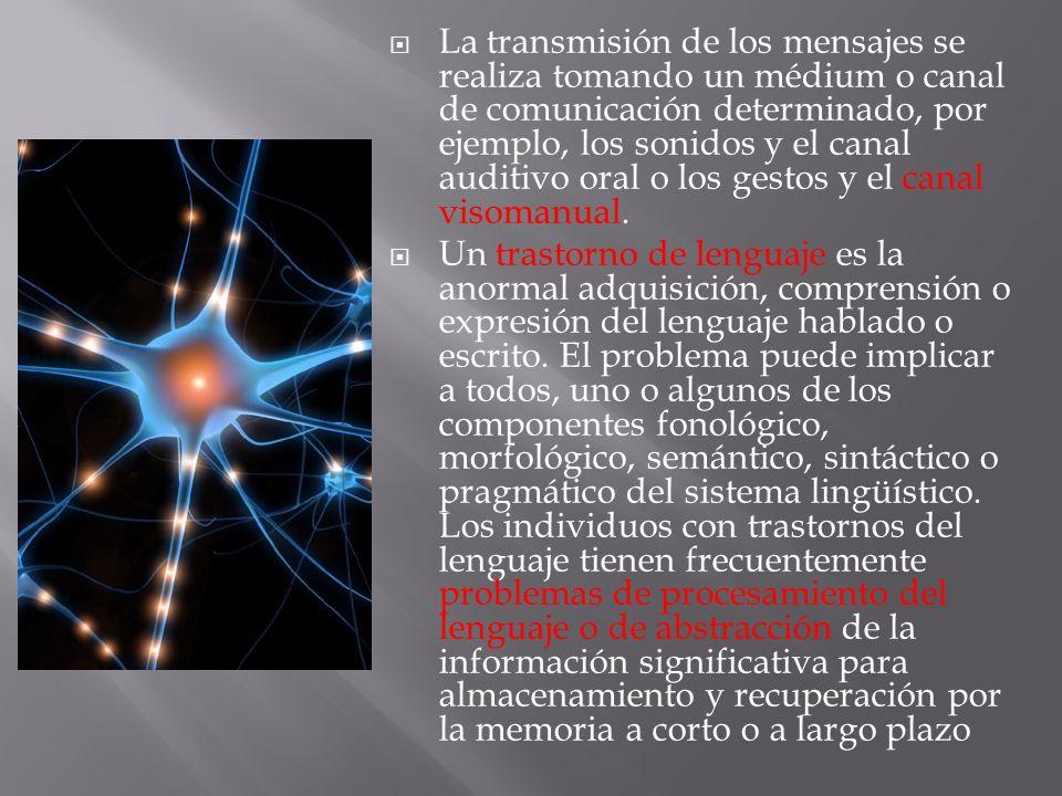 La transmisión de los mensajes se realiza tomando un médium o canal de comunicación determinado, por ejemplo, los sonidos y el canal auditivo oral o l