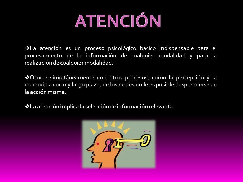 La atención es un proceso psicológico básico indispensable para el procesamiento de la información de cualquier modalidad y para la realización de cua
