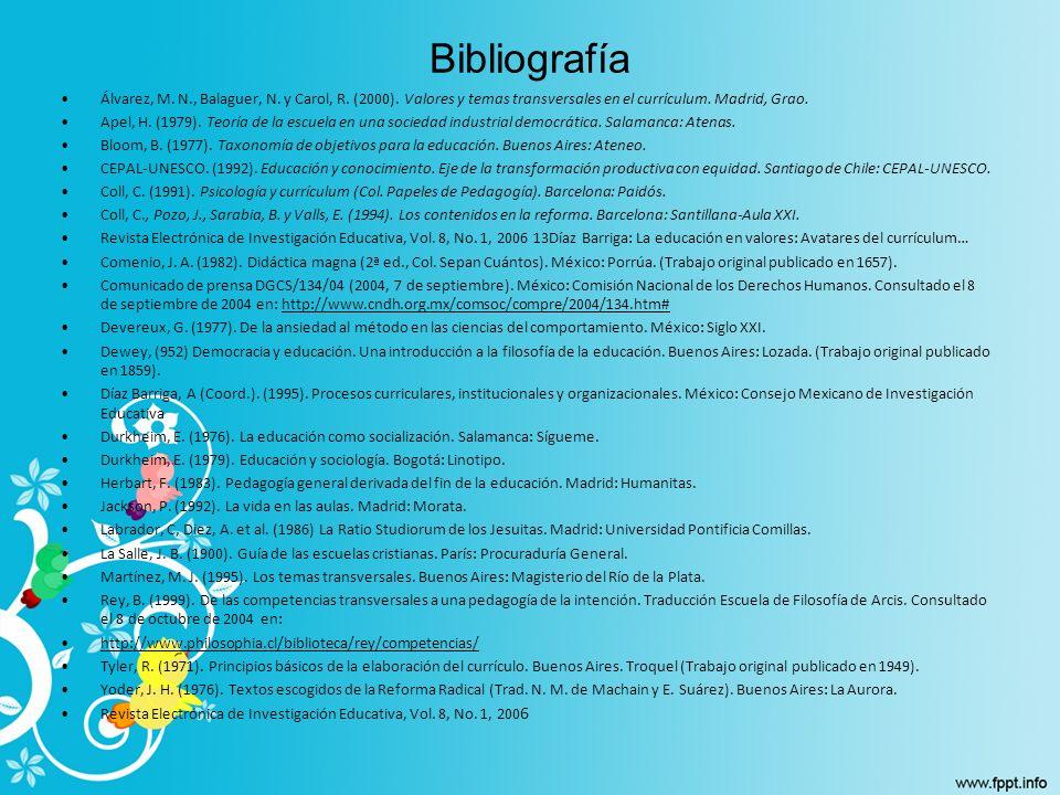 Bibliografía Álvarez, M. N., Balaguer, N. y Carol, R. (2000). Valores y temas transversales en el currículum. Madrid, Grao. Apel, H. (1979). Teoría de