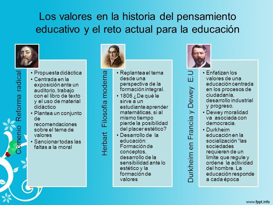 Los valores en la historia del pensamiento educativo y el reto actual para la educación Comenio Reforma radical Propuesta didáctica Centrada en la exp