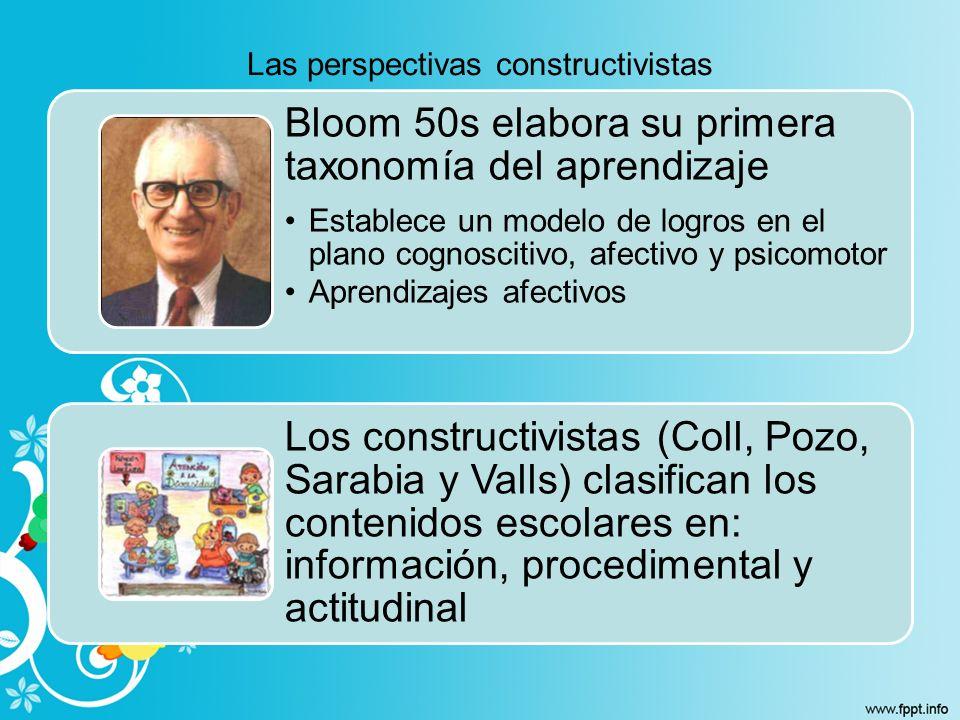 Las perspectivas constructivistas Bloom 50s elabora su primera taxonomía del aprendizaje Establece un modelo de logros en el plano cognoscitivo, afect