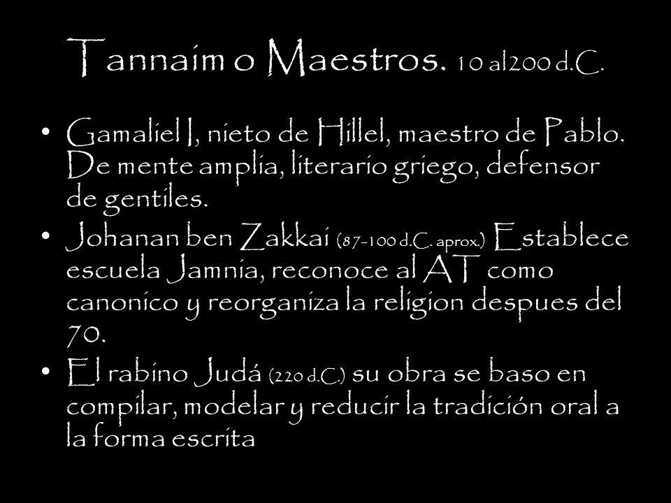 Tannaim o Maestros.10 al200 d.C. Gamaliel I, nieto de Hillel, maestro de Pablo.