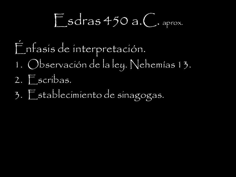 Esdras 450 a.C.aprox. Énfasis de interpretación. 1.Observación de la ley.