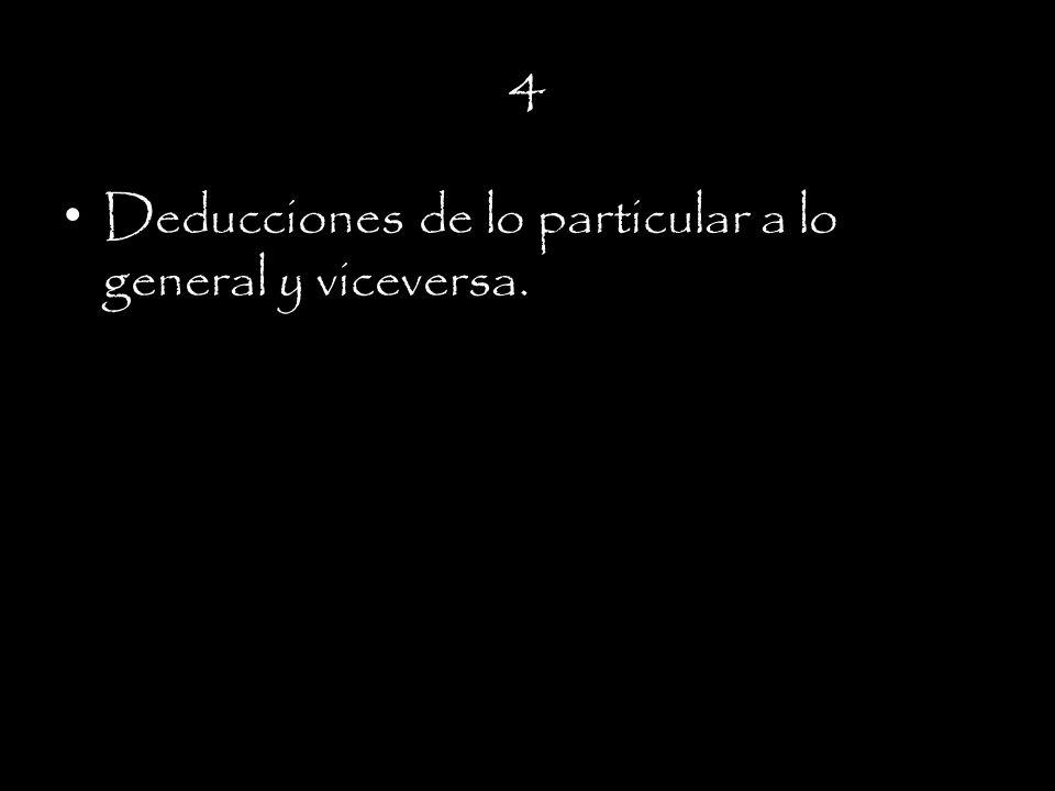 4 Deducciones de lo particular a lo general y viceversa.