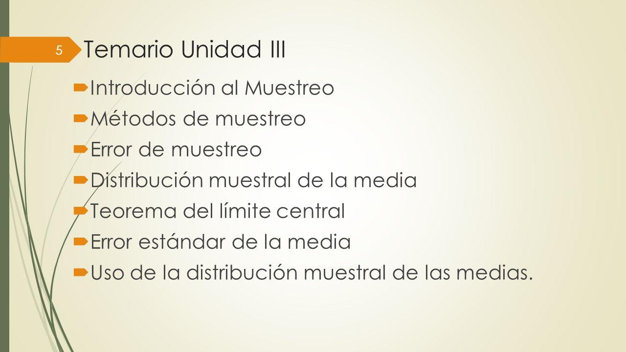 Temario Unidad III Introducción al Muestreo Métodos de muestreo Error de muestreo Distribución muestral de la media Teorema del límite central Error e