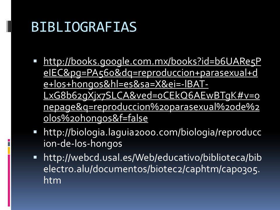 BIBLIOGRAFIAS http://books.google.com.mx/books?id=b6UARe5P eIEC&pg=PA560&dq=reproduccion+parasexual+d e+los+hongos&hl=es&sa=X&ei=-lBAT- LxG8b62gXjx7SL